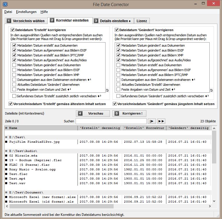 File Date Corrector - Erstelldatum wiederherstellen