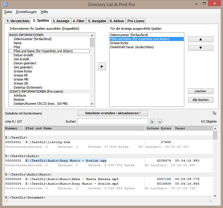 Spalten für gewünschte Dateilisten definieren.