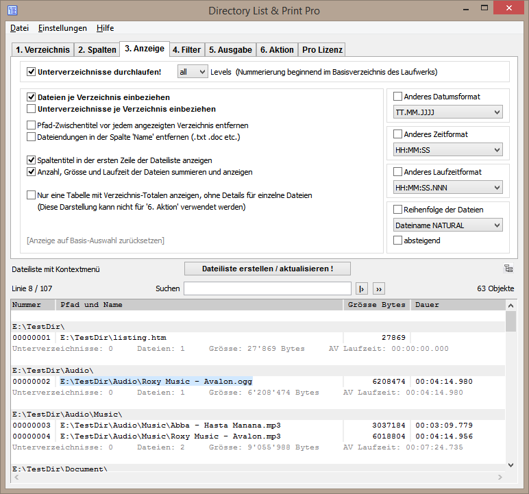 Dateieigenschaften der Dateiliste definieren.