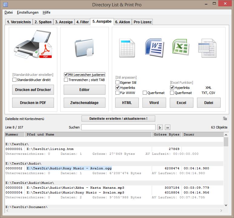 Ausgabemöglichkeiten der Datei- und Ordnerlisten.