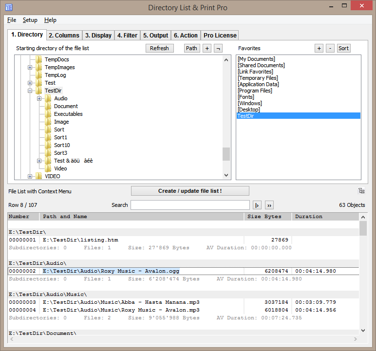 Select requested directory in order to create your file lists.