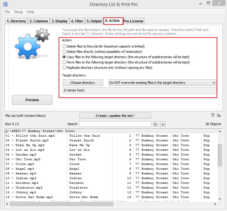 Copy, Move And Delete a MP3 List via Directory List & Print Pro