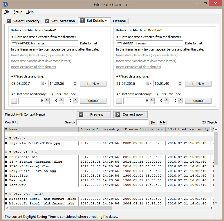 Preview of intended file dates corrections