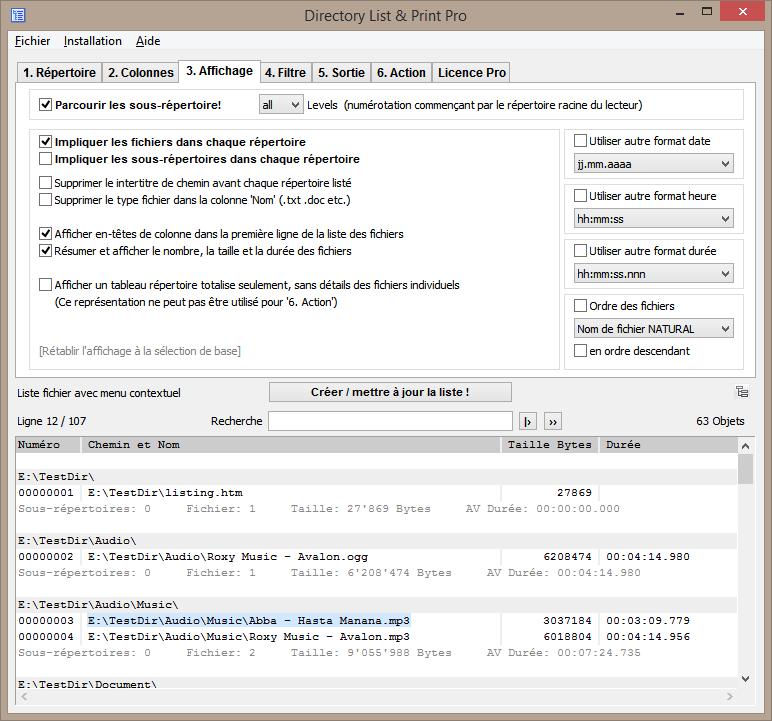 Définir les caractéristiques de données pour la liste de fichiers souhaitée.