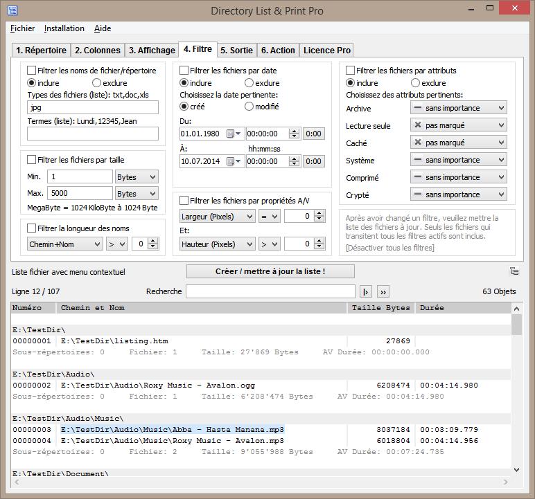 Créer la liste de fichiers à l'aide de nombreuses possibilités de filtrage.