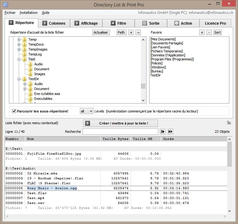 Sélectionner le répertoire pour créer la liste de fichiers