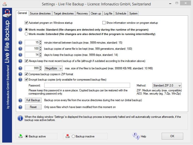 General settings define the general behaviour of the program.