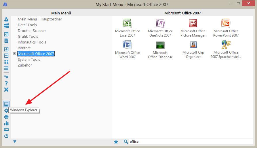 Direkter Zugriff auf Systemfunktionen in My Start Menu für Windows