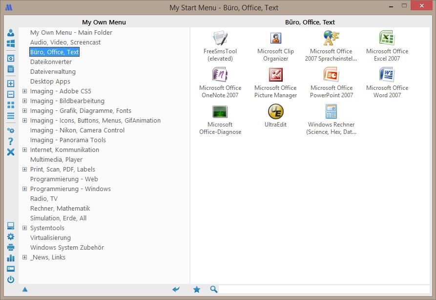 My Start Menu - Affichage en liste avec des icônes grandes